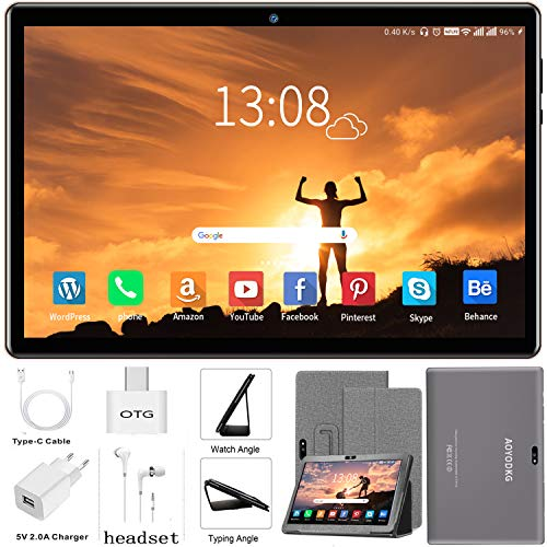 Tablet 10 Pulgadas Android 9.0 4G LTE【2020 Certificación Google GMS】 Tablets 3GB RAM+32GB ROM/128GB Escalable Quad-Core Dual SIM 8000mAh GPS Type-C 5.0+8.0MP (Gris)