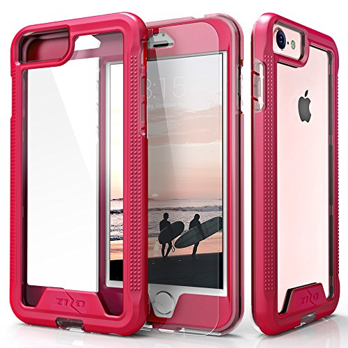 Zizo Ion Series Compatible with iPhone 8 Case Military Grade Drop Tested with Tempered Glass Screen Protector iPhone 6 iPhone 7 Case Pink Clear
