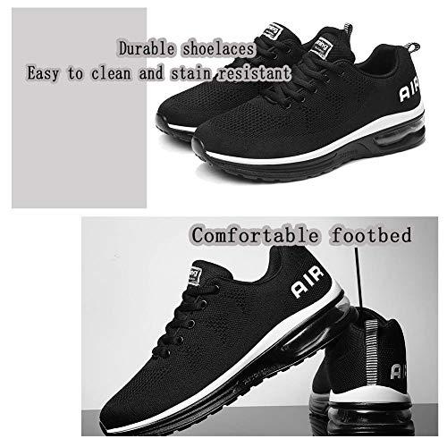 Monrinda Unisex Zapatillas de Deporte Mujer Deportivo Zapatos para Correr Hombre Runing Sports Trainers Gimnasio Air Cushion Blackwhite 46EU