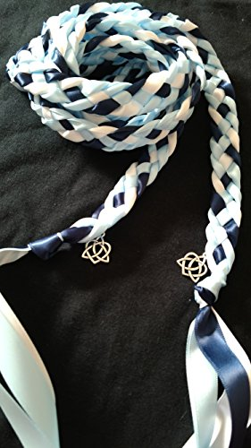 Light Blue, Navy, White Handfasting Cord Ceremony Braid- Celtic Heart- 6 ft -Wedding- Braided Together- Handfasting cord