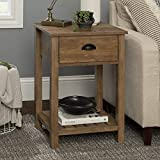 Walker Edison Farmhouse Square Side Accent Table Set Living Room Storage End Table with Storage Door Nightstand Bedroom, 18 Inch, Rustic Oak