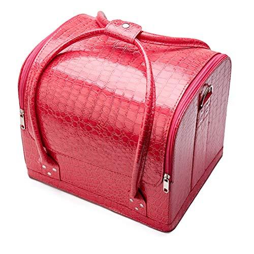 Malette maquillage Beauty case en cuir étanche Grand étui à cosmétiques portable Portable Sac de rangement pour outil semi-permanent pour tatouage,2