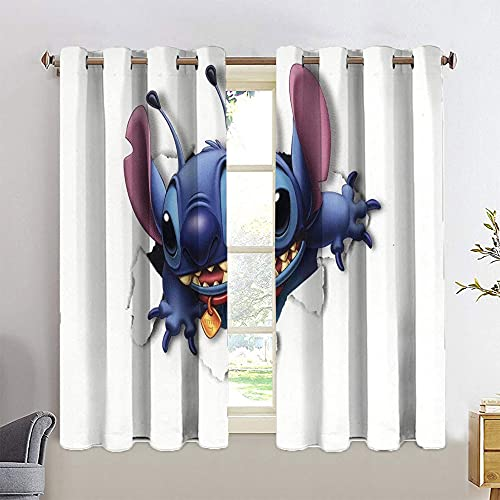 Room Darkening Wide Curtains Lilo and Stitch Decorative Curtains Blackout Curtains Kids Room W63 x L63
