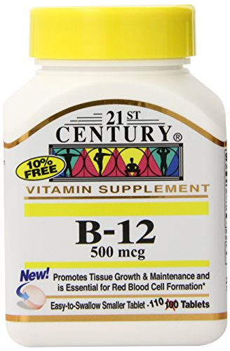 21st Century B-12 500 mcg Tablets, 110-Count (Pack of 3)