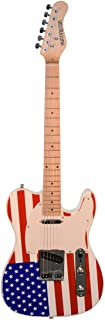 Patriotic American Flag Electric Guitar, Telecaster Style Red White & Blue