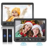 10.5' Dual Portable DVD Player, Arafuna Rechargable Car DVD Player Dual Screen Play A Same or Two Different Movies, Headrest DVD Player for Car with 5-Hour Battery, Support USB/SD, Last Memory