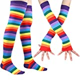 Rainbow Stripe Long Socks Gloves Set - 2 Pairs Accessories Set Colorful Knit Cute Party For Women