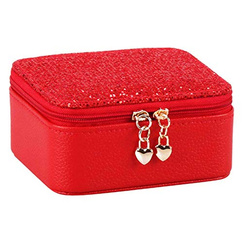 MOVKZACV Jewelry Box Portable Zipper Storage Travel Jewelry Organizer Mini Portable Jewelry Case for Rings Earrings & Necklace for Women Girls