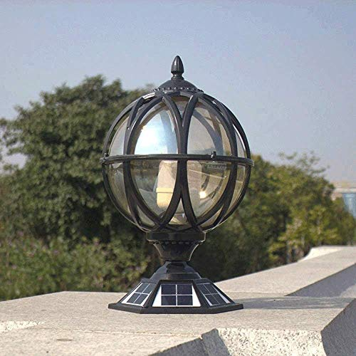 Naiyn LED solar al aire libre de la columna redonda de la lámpara de aluminio impermeable IP55 Post lámpara de jardín Patio de jardín Post Light Pilar Luz Interruptor automático Post Lantern