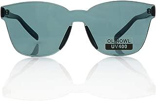 OLINOWL Oversized Square Rimless Sunglasses Tinted Unisex Women Men One Piece colored Transparent Eyewear Retro Eyeglasses