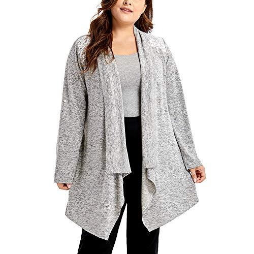 DELIMIRA Women's Sleepwear Open Front Robe Long Sleeve Loungewear Cardigan Grey S