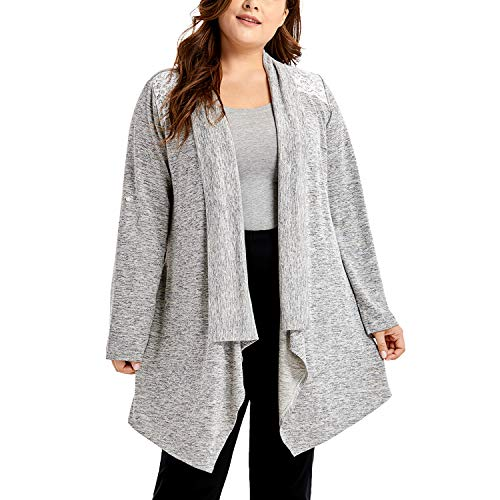 DELIMIRA Women's Sleepwear Open Front Robe Long Sleeve Loungewear Cardigan Grey S