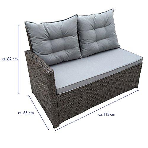 SVITA Monroe Polyrattan Ecksofa Rattan-Lounge Esstisch Gartenmöbel-Set Sofa Garnitur Couch-Eck (Lounge Set, Schwarz) - 5