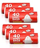 Tidyz 6 Packs Of 40 Handy Bags - Carrier Bags - Fits 15L Pedal Bin - Extra Strong Tie Handle 240 Bags In Total