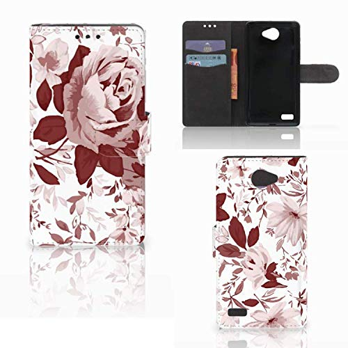 B2Ctelecom Lederhülle für LG Bello 2 Handytasche Aquarell Blumen - Last Minute Geschenke