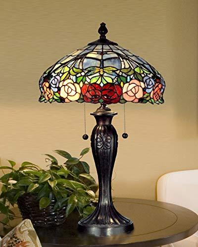 Dale Tiffany TT12232 Tiffany/Mica Two Light Table Lamp in Bronze/Dark Finish, 16.25 inches, Fieldstone