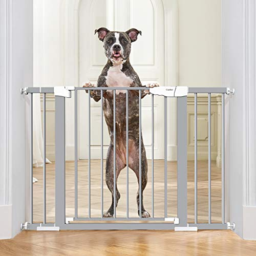 """Cumbor 46""""Baby Gate for Stairs and Doorways, Extra Tall and Wide Auto Close Safety Child Gate, Easy Walk Thru Durable Dog Gate for The House. Includes (2)2.75-Inch and 8.25-Inch Extension(Gray)"""