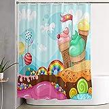 Ontwiesy Badewannenvorhang, Duschvorhang, Badezimmervorhang mit Haken, Duschvorhänge, Süßigkeiten-Vektorbild, Heimdekoration, wasserdicht, 180 x 180 cm