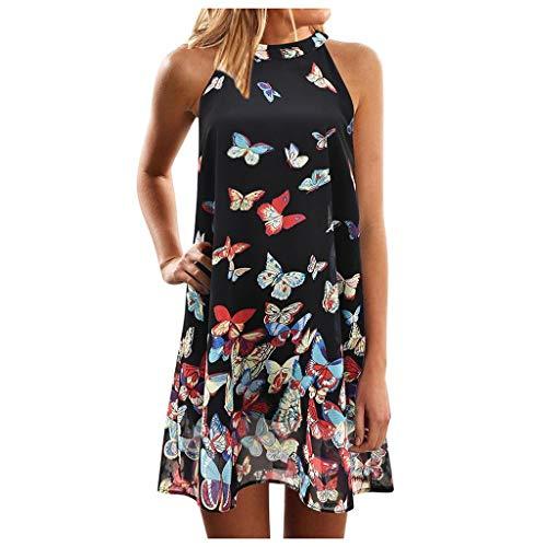 Tomatoa Sommerkleid Damen Kleider Midi Sommerkleid Ärmellos Strandkleid Blumen Frauen Kleider Partykleid Freizeitkleider Große Größe Kleid S - XL