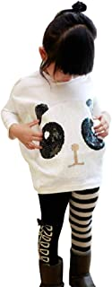 chinatera 2Pcs Kids Little Girls Cartoon Outfits Panda Coat Top + Striped Pants