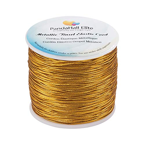 PH PandaHall 1mm 100m/ 109 Yards Metallic Tinsel Elastic Cord Polyester Ribbon Stretch Beading Cord for Jewelry Making Christmas Wrap Ribbon, Gold
