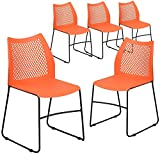 Flash Furniture 5 Pack HERCULES Series 661 lb. Capacity Orange Stack Chair with Air-Vent Back and Black Powder Coated Sled Base