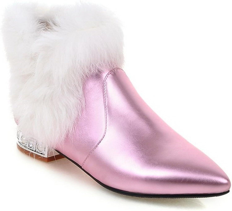 BalaMasa Girls Chunky Heels Fur Collar Mule Imitated Leather Boots