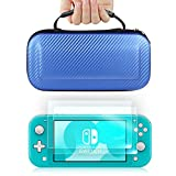 TJS Case for Nintendo Switch Lite with [2 Pack Tempered Glass Screen Protector] Carbon Fiber Texture Hard Travel Carrying Case Shell Carry Pouch (Blue)