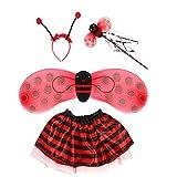Proumhang 4 piezas Disfraz de cosplay de mariquita para niños con diadema de alas, falda de varita, actuación en el escenario escolar, juegos de rol, Halloween, para una altura inferior a 1,4 m