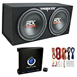 MTX TNP212D2 12' 1200 Watt 4 Ohm Dual Loaded Car Audio Subwoofer Package with Sub Enclosure, Planet 1500W Monoblock A/B Amplifier & 8 Gauge Wiring Kit