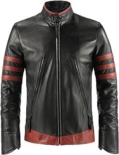 SALTONI Mens Vintage Retro Black Distressed Biker Stripes Real Leather Biker Jacket