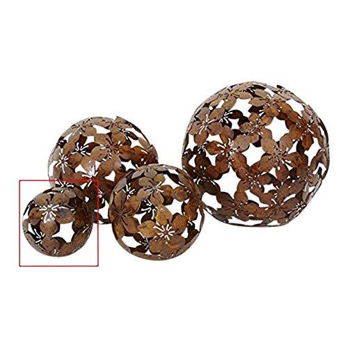 Kugel Dekokugel Gartenkugel *Blume* Metall Rost-Optik - D10cm