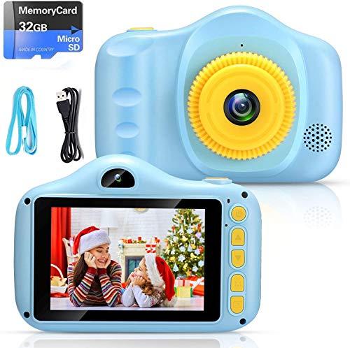 Cámara para Niños Infantil Cámara de Fotos Digital Cámara Juguete para Niños 3.5 Pulgadas 12MP 1080P HD Selfie Video Cámara Regalos Ideales para Niños Niñas de 3-10 Años con Tarjeta TF 32 GB (Azul)
