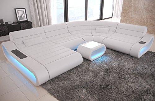Sofa Dreams Leder Wohnlandschaft Concept XXL mit Ottomane und grossen Sitzflächen