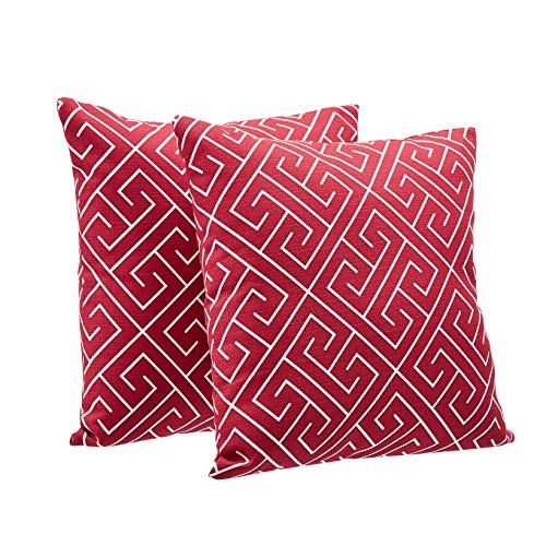 AmazonBasics Cojines decorativos de tejido texturizado, paquete de 2, 46 cm, cuadrado, rojo clásico geométrico