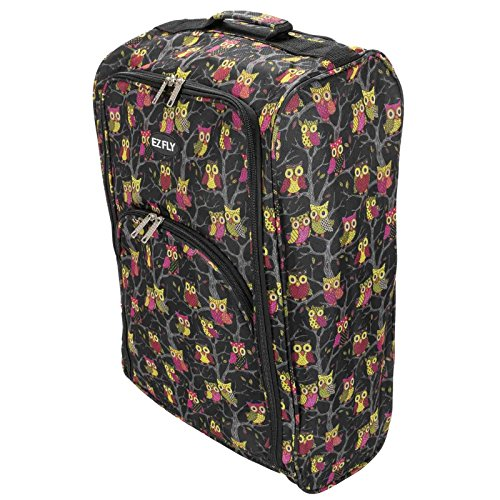 ASAB Cabin Hand Luggage Trolley Bag Small Travel Flight Suitcase Holdall Wheeled Super Tough Polyester Lightweight 44l Storage (Black/Owl)