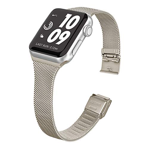 WAIYI Correa Metal Compatible con Apple Watch 38mm 40mm 42mm 44mm,Pulsera de Repuesto Hebilla Ajustable Correa Fina de Acero Inoxidable para iWatch Series SE 6 5 4 3 2 1(42mm/44mm, Champán)