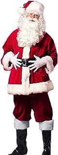 Christmas Santa Claus Costumes Plush Men's Pub Flannel Crawl Santa Suit Xmas Suit (C) Wine Red