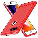 BESTCASESKIN Funda iPhone 7 Plus / 8 Plus Carcasa [Textura Fibra de Carbono] Ligera Silicona Suave Slim Fit TPU Case [3D Cristal Templado] Protección Cover Ultrafina Caso Bumper, Rojo