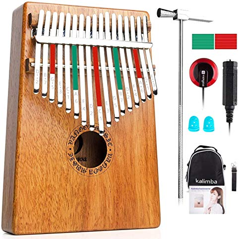 Vangoa Kalimba 17 Keys Thumb Piano, Mbira Finger Piano Mahogany, Portable Mbira Thumb Piano Instrument Gifts for Kids Adult Beginners with Carrying Bag, Tune Hammer and Study Instruction