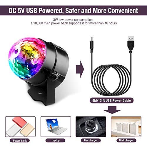 Techole Discokugel LED Party Lampe Musikgesteuert Disco Lichteffekte Discolicht mit 4M USB Kabel, 7 Farbe RGB 360° Drehbares Partylicht mit Fernbedienung für Weihnachten, Kinder, Kinderzimmer, Party - 4