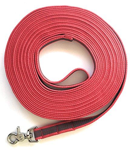 DOGS and MORE - Gummierte Schleppleine MIT oder OHNE Handschlaufe => 5 ODER Meter in Rot (10 Meter MIT Handschlaufe)