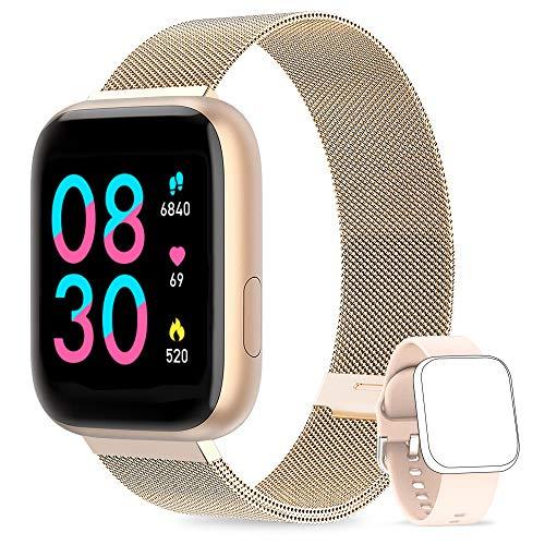 WWDOLL Smartwatch, Orologio Fitness Tracker Impermeabile da 1,4 pollici Cardiofrequenzimetro da Polso Pressione Sanguigna Contapassi Smartband Donna Uomo Smart Watch Android iOS Oro