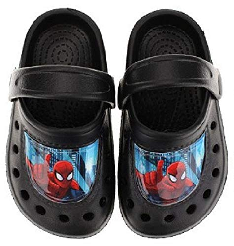 Spiderman Jungen Boys Sandalen Pantoffeln Schuhe Badeschuhe schwarz (33/34)