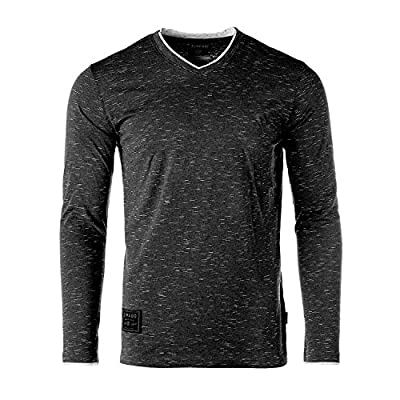 Men's Casual Long Sleeve Layered Cuff V-Neck Fashion Athletic T-Shirt Tee