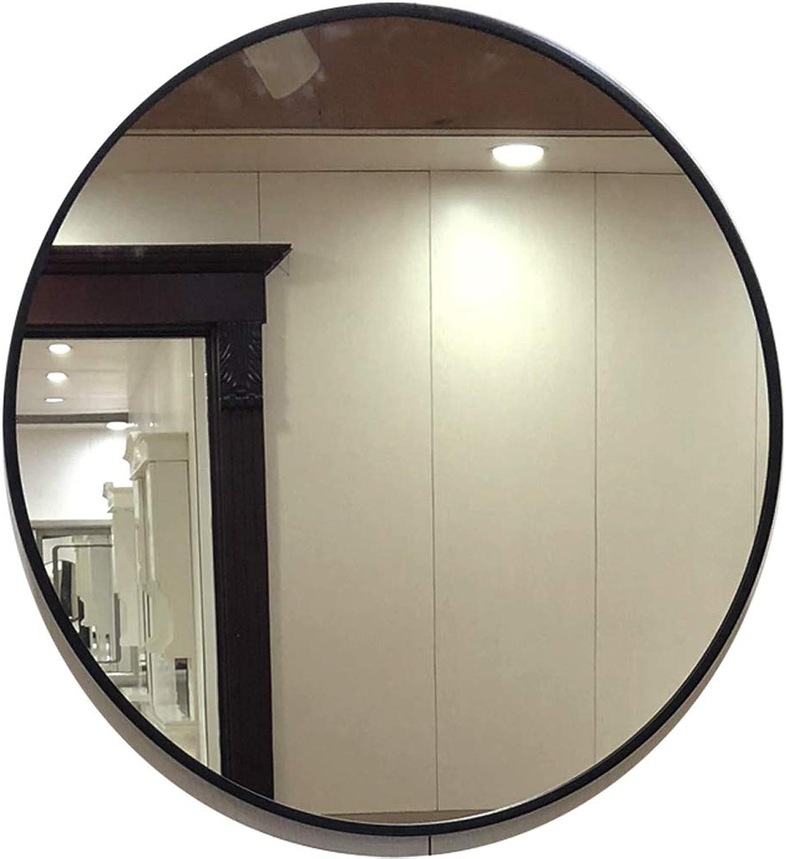 Round Nordic Cruise Mirror Wall Mirror Looking Glass Bathroom Mirror (color  Black, Size  60 70cm)
