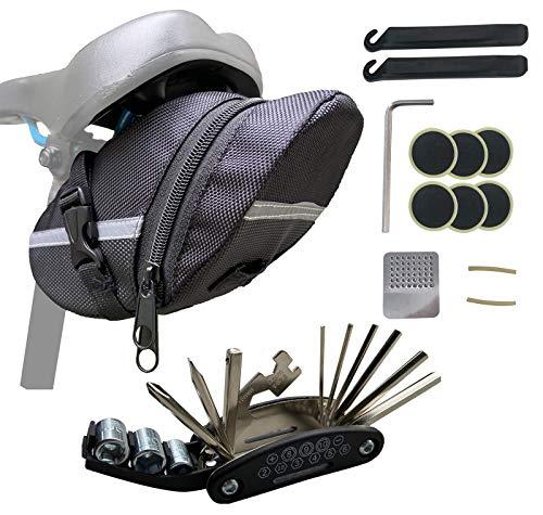 EWENYS Fahrrad satteltasche mit werkzeug, Fahrrad Multitools 16-in-1 Fahrrad Reparatur Werkzeug Set, Faltbares Multifunktionswerkzeug
