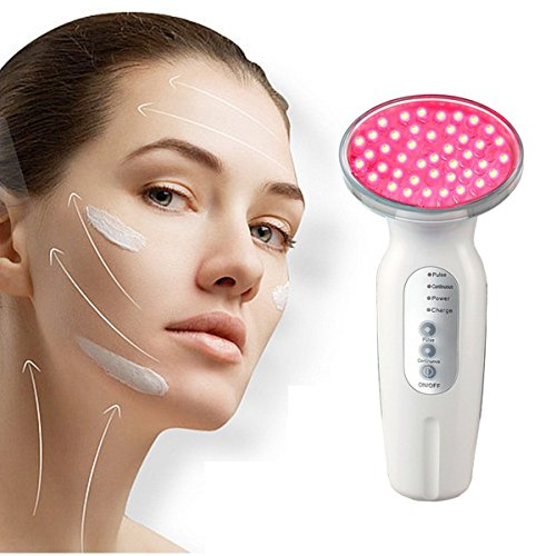 LED Photon Therapy Luckyfine Facial Red Light Photon Therapy Machine Collagen Boost Skin Firming and Lifting, Rechargeable, Light Emission Control Sensor, Wall Plug Charging