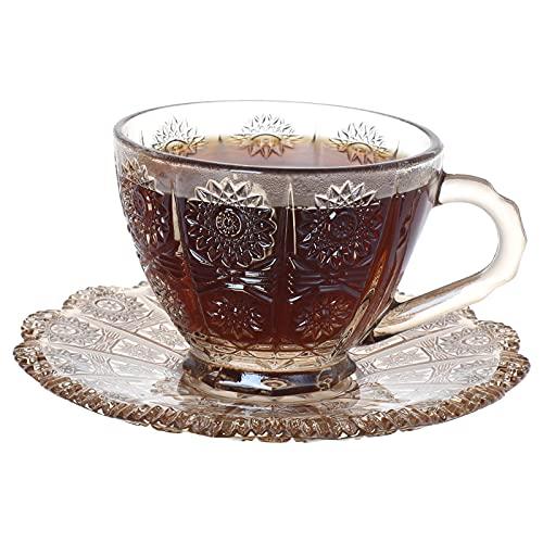 TELANKS Tazzine da Caffe, Tazze tè con Piattini in Vetro, Tazze da caffè Espresso inVetro con Piattini, Pratica per Cappuccino, Latte Macchiato, caffè,190 ml,Ambra (Ambra)