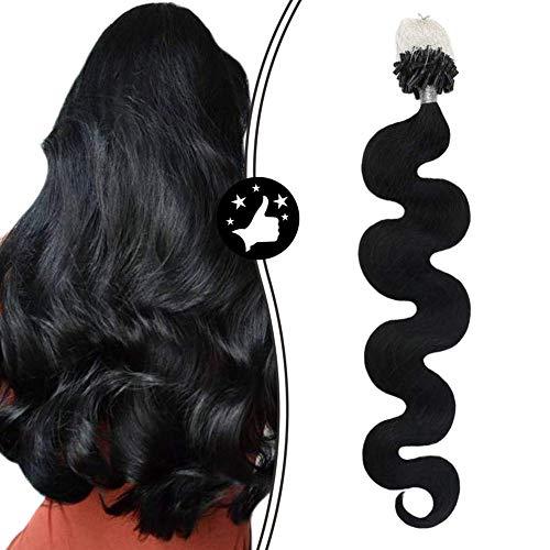 Moresoo Microring Extensions Echthaar Schwarz #1 16 Zoll 100% Remy Brasilianisch Echthaar Loop Extensions Body Wave Hair 1g/Strähne 50g